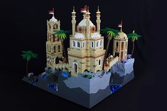 Qasr Albahr (jsnyder002) Tags: lego moc creation fantasy castle medieval middle eastern island rock spire arch cliff fortress citadel tower dome palace octagonal building square bridge climbing water waterfall ocean palm tree minaret balcony landscape kaliphlin guilds historica ccc interior mosaic floor
