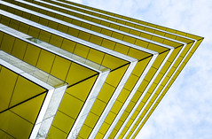 Salient (Douguerreotype) Tags: london geometric glass uk abstract british buildings yellow diagonal window city geometry britain architecture gb urban england