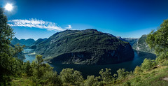 Geirangerfjorden, Sunnmre, Mre og Romsdal, Norge (North Face) Tags: norway norge norwegen fjord mountain mountains sky sun trees water cliffs panorama wide summer nature landscape landschaft natur sommer canon eos 5d mark iii 5d3 24105l unesco world heritage site geiranger geirangerfjorden 3
