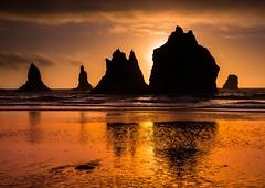 Just Golden! (dezzouk) Tags: samuelboardman oregon seastacks sunset reflection chinabeach sceniccorridor