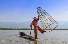 Morning at Lake Inle (jennifer.stahn) Tags: travel lake see fisherman nikon asia jennifer burma fisher myanmar inle birma reise stahn d7000