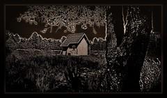 little house on the moonlit prairie (milomingo) Tags: brown black building texture monochrome outdoor monochromatic structure prairie photoart