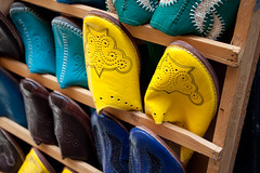 Yellow (AurangzebH) Tags: colors yellow handicraft shoes colours market traditional morocco fez footwear medina artisan fes fas