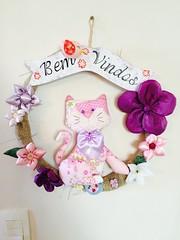 Guirlanda gato (Pina & Ju) Tags: handmade flor artesanato passarinho guirlanda gato fuxico feltro patchwork gatinho tecido