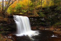 Harrison Wright Falls, Ricketts Glen State Park (Bryan Carnathan) Tags: cliff usa fall nature water creek canon landscape photography photo waterfall rocks colorful stream unitedstates bright outdoor pennsylvania wideangle fallfoliage brook gitzo rickettsglen benton beechtrees movingwater landscapephotography rickettsglenstatepark phototips longexposurephotography photographytips harrisonwrightfalls canoneos1dsiii canonef24mmf14liiusmlens