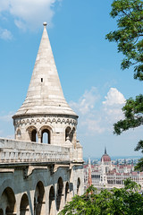 Tower of the Fishermen's Bastion, Budapest (basair) Tags: tower europe hungary cone fort budapest parliament bastion danube buda castlehill