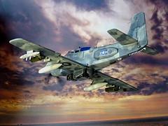 1:72 Douglas YOA-1E 'LAGOS Skyraider'; Aircraft 2/'Jungle Queen' of US Navy VA-33 'Ironhides'; Cam Ranh Air Base, South Vietnam, November 1968. (Whif/Monogram kit conversion) (dizzyfugu) Tags: night observation ir grey conversion aviation lagos vietnam jungle weapon laser spike kit a1 douglas trim bomb fs sensor tack lau gunship fictional guided pave yoa whatif modellbau gbu a1e skyraider nogs whif 36118 36231 36440 ad4 dizzyfugu