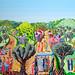 רפי פרץ ציור נאיבי מחווה לאמן הגדול משה קסטל  ארוחה על הדשה ליל שבת ציור חתונה ציורי עצי זית הרי ירושלים הגליל שנות העשרים תמינות צבעוניות גדולות ממדים תמונה גדולה גדול