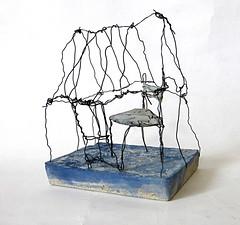home (Ines Seidel) Tags: home house series zuhause haus heimat stuhl chair blue concrete wire beton draht space raum object