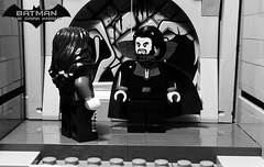 The Dark Knight  Heir to the Demon  Prologue  Part 22 (Supremedalekdunn) Tags: lego batman the dark knight volume 4 heir demon ras alghul robin red hood dick grayson nightwing jason todd tim drake bruce wayne dcsg thefilmgmr thelegoguy legosuperheroes superman justice league wonder woman green lantern indoor talia blackandwhite monochrome