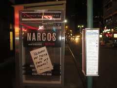 The Latest Narcos AD Escalation 6010 (Brechtbug) Tags: the latest narcos ad escalation bus shelter pile o money stolen removed tv show stop with piles slightly singed real fake or is it 2016 nyc image taken 10012016 midtown manhattan new york city 49th street 7th ave st avenue moola bogus netflix update they stole now there note