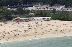 St Ives Railway Station & Porthminster Beach aerial image (John D F) Tags: railwaystation porthminsterbeach stives beach bay cornwall coast aerial aerialphotography aerialimage aerialphotograph aerialimagesuk aerialview droneview