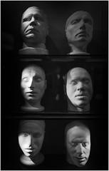 Scottish National Portrait Gallery, Edinburgh, murderers' live / death masks (Pitheadgear) Tags: edinburgh scotland uk britain blackandwhite mono monochrome bw criminals crime executed masks deathmasks burkeandhare murderers