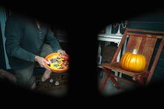 Trick or Treat (Jason _Ogden) Tags: chair d90 october nikon mask bowl trick pumpkin vr18200 trickortreat knockknock masked frontporch lookingthroughamask candy treat flickrfriday disguise orange october31st costume happyhalloween halloween