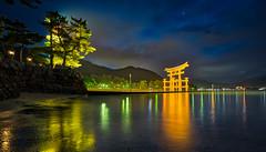 Miyajima Shrine (cdagnaes) Tags: landscape sea water night japan sony mountain lens shrine torii miyajima hiroshima samyang shinto itsukushima mustsee thegreattorii topplaces