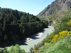Arrowtown. The Shotover River near Queenstown and Arrowtown. Miners sought gold here in the 1860s now adventurers seek excitment. (denisbin) Tags: arrowtown queenstown wisteria shotoverriver southernalps newzealand presbyterian church otago mainstreet shoops