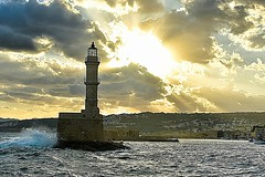 The Lighthouse in Chania, Crete (Tungmay aka ) Tags: lighthouse faros chania crete greece clouds sea