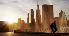 Buckingham Sunset (Eric Hines Photography) Tags: chicago sunset buckinghamfountain couple redepicmdragon willistower summer cityscape