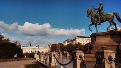 IMG_20161008_013356 (Lets go hand in hand.) Tags: sunset light sun sunlight clouds horse statue platz square art historic city vienna wien austria sterreich photography travel