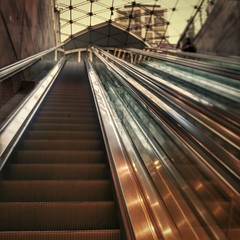 INSTAGRAM 365 Day 336: Ascension (tomas_nilsson) Tags: instagram365 sweden malm escalators goingup trainstation triangeln underground railroad leadinglines towardsthelight silhouette igersmalmoe cellphonephotography lg g4 snapseed postprocessing