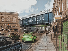 """camden road """"painting"""" (dick_pountain) Tags: likeapainting mashup camdenroad camden london bridge station cars sky clouds shops unlimited photos unlimitedphotos"""