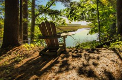 Just Say NO to the Snow (Bud in Wells, Maine) Tags: laudholmfarm autumn wellsreserve chair estuary view topaz morning shadows light