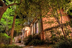 Walk The Evening Savannah (John E Adams) Tags: savannah georgia historic nighttime night nightshot southernstyle brick rowhouse