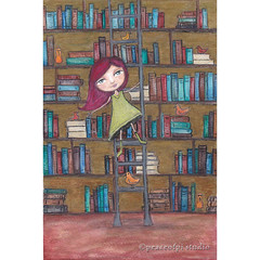 In the Library (JoMo (peaceofpi)) Tags: girl bird painting drawing illustration friendship reading books library shelves ladder redhair story mixedmedia sketch acrylic ink watercolor pencil