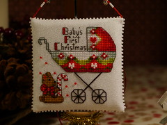 Baby's First Christmas (2) (GATACA1952) Tags: christmas nol ornament pillow evenweave opalescent kreinik dmc beads baby pram stroller victorian crossstitch embroidery candycane millhill teddybear