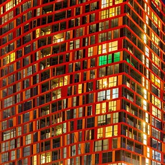 Blood Lines (Paul Brouns) Tags: nocturnal lines colors colours colourful colorful vibes rhythms urban paulbrouns paulbrounscom rhythm windows nightshot nightphotography night red center netherlands calypso building architecture rotterdam