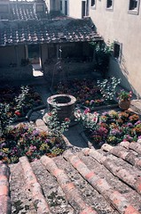 Tuscany, Italy (35mm slide) (jcbkk1956) Tags: flowers roof italy plants film analog 35mm garden pentax slide courtyard well tiles tuscany scanned contrejour contrejoure worldtrekker