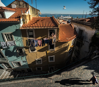 Lisbon's evening shadows
