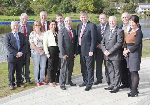Social Development Minister Mervyn Storey, MLA pictured at the official opening of the new Castle Basin Promenade in Enniskillen with representatives from Fermanagh & Omagh District Council