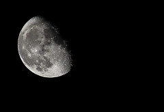 he said: 'catch me if you can' and I answered 'challenge accepted!' (dunkelbunt304) Tags: sky blackandwhite moon white black monochrome night canon eos mond goal nacht himmel astro moonlight wish canoneos astrologie 600d eos600d
