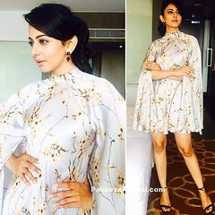 Rakul Preet Singh in High neck frock with Floral Prints by Sailex from Bruce Lee movie (shaf_prince) Tags: miniskirt bollywoodactress teenfashion tollywoodactress celebritydresses rakulpreetsingh bollywooddesignerdresses celebrityshortskirt shortskirtforgirls highcollarneckdesigns actressinwhitedresses actressinskirts shortskirtphotos bruceleemovie printedshortskirt floralprintminiskirt maithilikabrejewellery