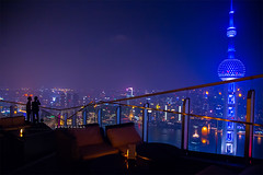 Tomorrowland. (¡arturii!) Tags: china city travel blue people urban silhouette night skyscraper colorful cityscape shine shanghai bright horizon tomorrowland viewpoint infinite futuristic orientalpearltower