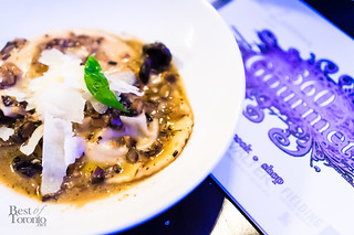 Wild porcini mushroom ravioli with truffle oil, Grana Padano cheese