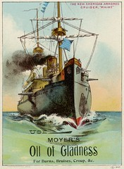 The New American Armored Cruiser Maine (Alan Mays) Tags: ephemera tradecards advertising advertisements ads paper printed moyer moyerbros druggists moyerbrothers pharmacists moyersoilofgladness oilofgladness oil gladness burns bruises croup patentmedicines medicines cures remedies diseases spanishamericanwar wars ussmaine maine battleships ships boats cruisers armoredcruisers guns masts flags smokestacks smoke oceans waves illustrations borders blue green bloomsburg pa columbiacounty pennsylvania 1889 1880s victorian 19thcentury nineteenthcentury antique old vintage typefaces type typography fonts
