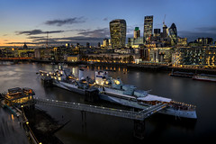 The City Destroyer... (JH Images.co.uk) Tags: hdr di art architecture sky city night sunset riverthames hms belfast architeture visit london gherkin cheesegrater walkietalkie