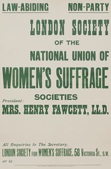 Suffrage meetings and events: London Society for Women's Suffrage: Law Abiding. Non Party, President: Mrs Henry Fawcettc.1910