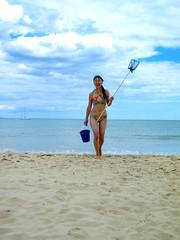 Studland (jrowen_81) Tags: blue sea sky colour net beach sunglasses clouds coast seaside bucket fishing sand walk horizon bikini colourful studland