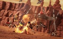 Battle of Geonosis (Shobrick) Tags: motion toys star spider war desert lego explosion battle clones fi wars minifig battlefield diorama sci mech geonosis shobrick