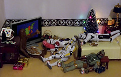 Not a creature was stirring... on the Death Star (ChicaD58) Tags: actionfigure lowlight christmastree christmaslights presents stormtrooper bobafett napping gingerbreadhouse chewie holidaydecorations wookiee movienight havingfun gingerbreadmen snoozing stb clonetrooper starwarsactionfigure brewskies stormtrooperbruce tk432 tk110 dscf1610b powernaptime