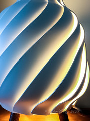 Spiral pattern desk lamp (Victor Wong (sfe-co2)) Tags: abstract minimalism texture lines desk spiral lamp light design white energy power electric equipment bright fluorescent table technology art object modern device detail closeup compact environmental space yellow blue