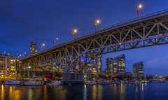 Granville Island (Daniel P Froese) Tags: vancouver canada granville island bluehour blue hour photo photos image images picture pictures river reflection cityscape nightscape dusk boats marina boat buildings architecture bridge apartments lights