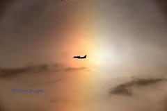 Through the Rainbow. (Albatross Imagery) Tags: photo southamptonairport colourful rainandsun aviation rainbows photographer photography instagram flickr hampshire southampton england uk aircraft sigma nikon colour beautiful plane rainbow