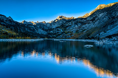 Fall Colors - Lake Sabrina Reflections (www.karltonhuberphotography.com) Tags: 2016 alpineglow autumn bishopcreekcanyon bluesky california easternsierra fallcolors firstlight horizontalimage inspiring invigorating islands karltonhuber lake lakesabrina light mountainpeaks outdoors peaceful reflection rugged shadows shorelinerocks sierranevadamountains vivid water wildplaces