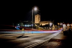 Light Me Up (garethleethomas) Tags: street church colour lighttrails night light canon town road cars speed