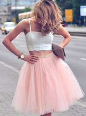 Homecoming dress (maweiyu) Tags: twopiece homecoming dress kneelength spaghetti straps coral tulle with ruffles