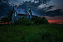 Sunset at Lavender House (angie_1964) Tags: sunset lavenderhouse abandonment ontario clouds nature building house grass pink